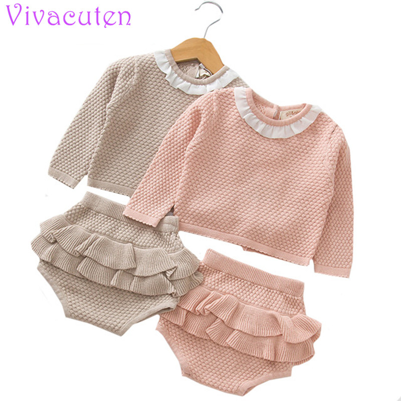 Girls Suit Knit 0-2 Year Old Cotton Baby Long Sleeve knitted rompers set Blouse + Lotus Leaf Shorts Baby Clothing Set revere collar allover flamingo print blouse & shorts pajama set