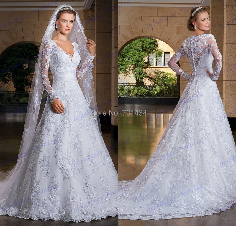 Vintage Wedding Gown Designers: Modest V Neck White Lace Long Sleeves Vintage Wedding