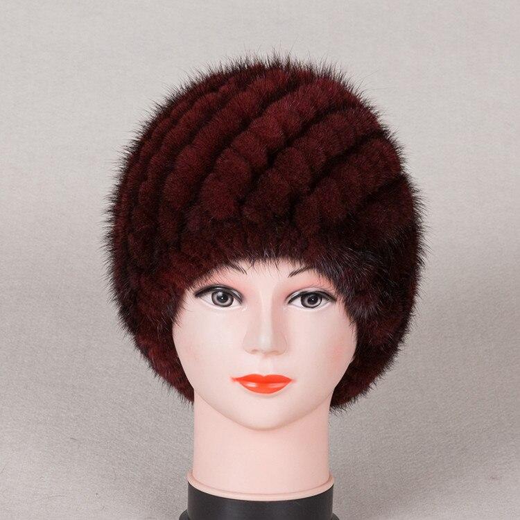 7b445e0bba4 New Knitted genuine natural mink fur hat cap headgear headdress women  warmer Wholesale Free shipping