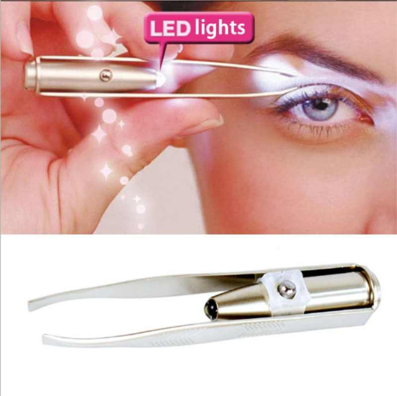 Make Up Led Light Eyelash Eyebrow Hair Removal แหนบ Pinzas Para Cejas maquiagem/โดย DHL 100 pcs