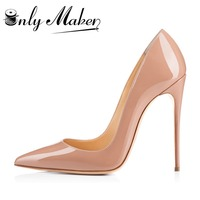 Onlymaker Original Top Quality Women Pumps Pointed Toe Thin Heels Pumps Nice Patent Leather Shoes Woman