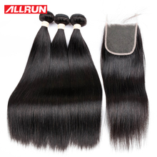 Allrun Hair 3 Bundles Malaysian Straight Hair Weave With 4*4 Lace Closure 100% Human Hair Bundles Non Remy Hair Extensions(China)