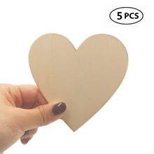 5 pçs 100mm 4 polegada tamanho grande coração de madeira inacabado coração de madeira recorte forma corações de madeira para diy arte decoração de casamento
