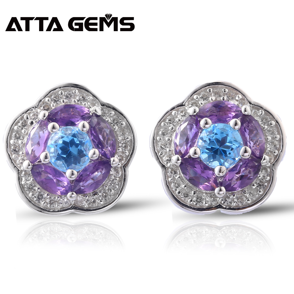 Natural Amethyst Sterling Silver Women Stud Earrings Topaz Faced 2 8 Carats Natural Gemstone Romantic Style