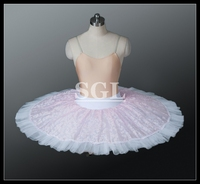 Ballet Dance Practice Half Tutu Skirt With Pants Pink Lace Skirt 9 Layers Adult Child Girl