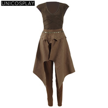 Game of Thrones Season 6 Daenerys Targaryen Cosplay Costume Brown Daily Uniform Halloween Shirt Skirt Pants For Woman Girls
