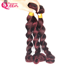 99J Burgundy Brazilian Loose Wave Human Hair Weave Bundles Ombre Human Hair Extension 3 Bundles Dreaming