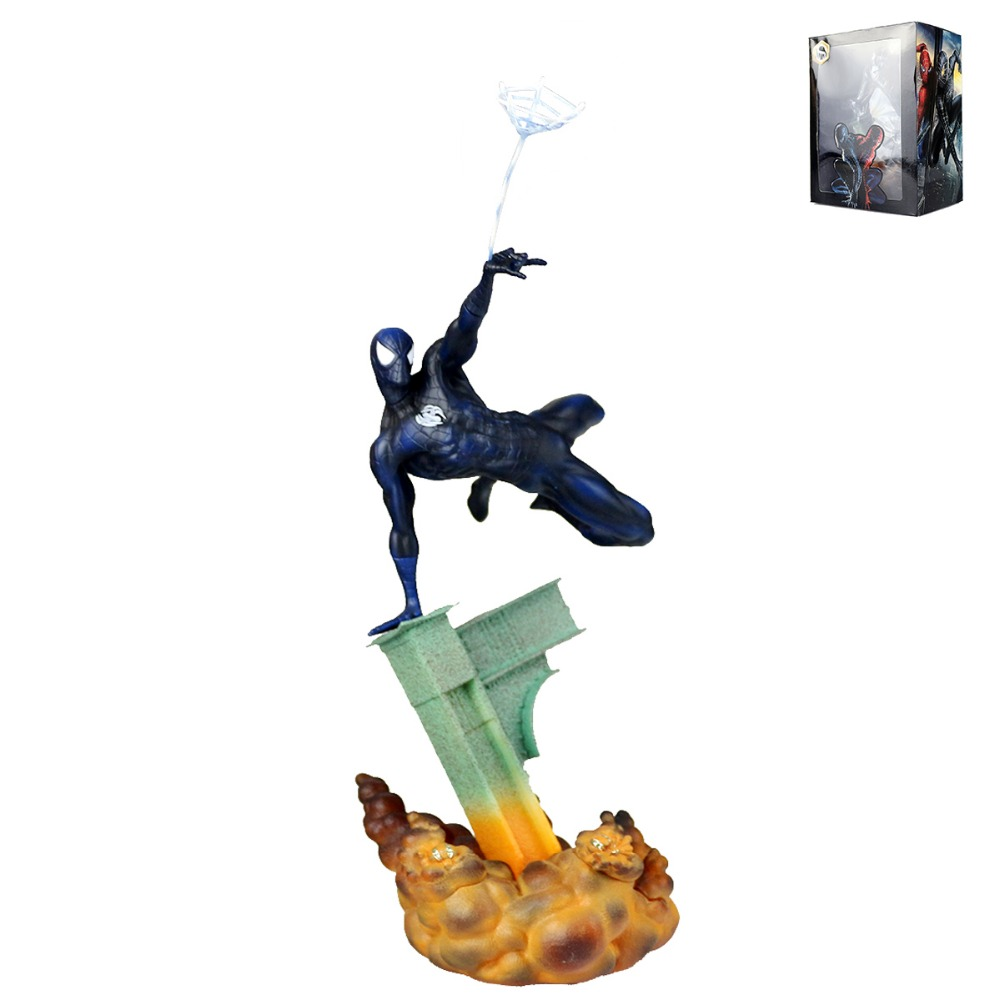 Anime Black Spider-Man Spiderman Web Super Hero Statue Figure Free Shipping free shipping legends 8 unleashed 360 spider man 3 with web ultimate posability spiderman pvc figure toys