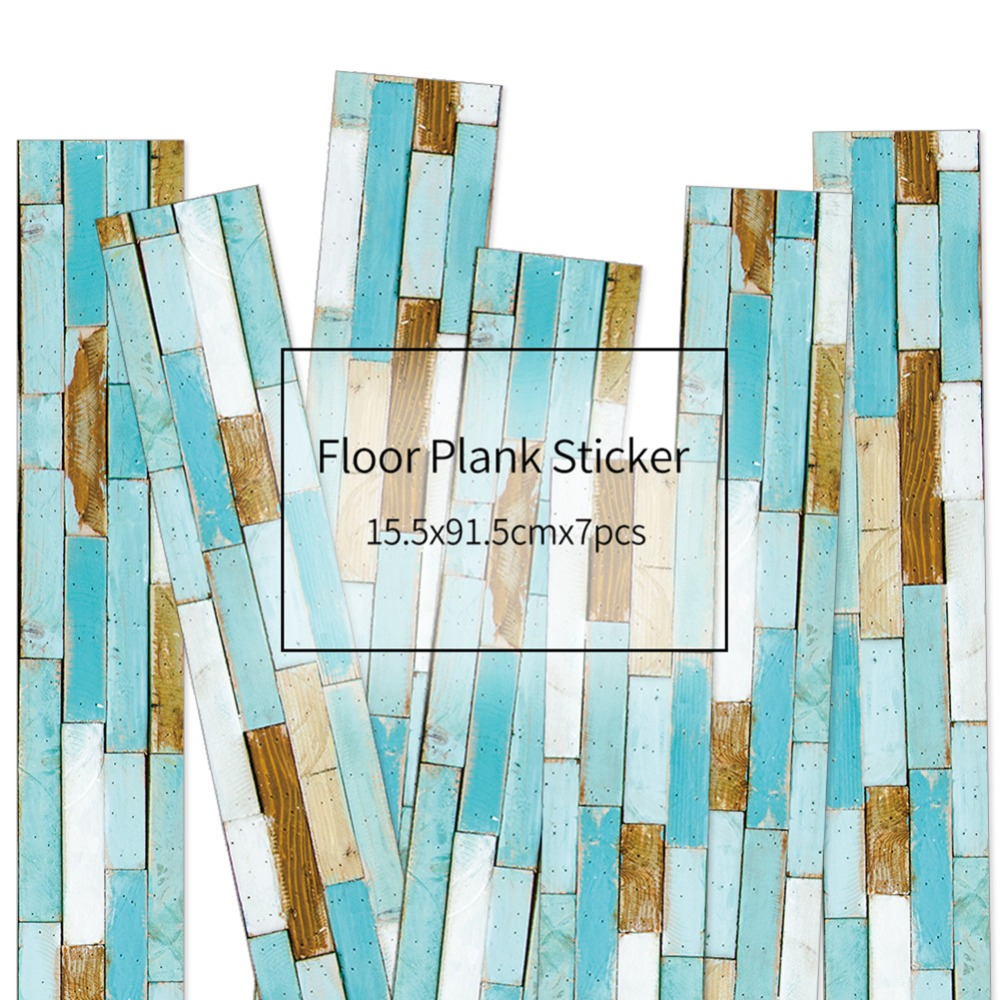 HXM 7pcs Floor stickers DIY Self adhesive Wall Tile Stickers Wood Grain Frosted Film Wallpaper Kitchen Living Room Decor #2