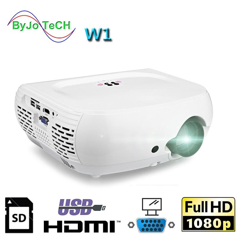 ByJoTeCH W1 Full HD1080P LED font b projector b font 2500 Lumens 3D Video Home Cinema