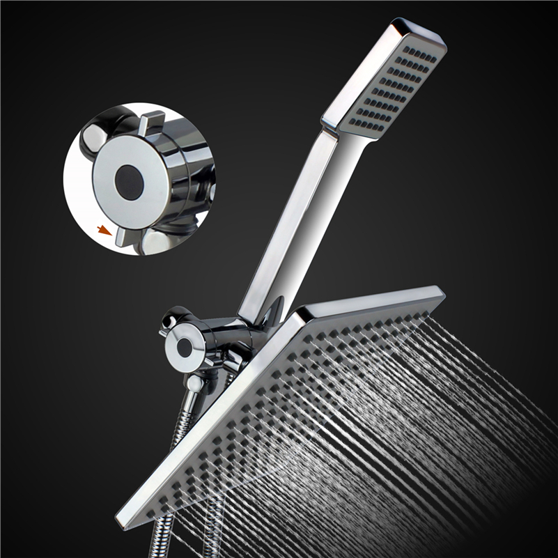 Luxury Double Head Shower Head Set Handheld Shower Head & 3 ways Diverter & Stainless Steel Hose stainless steel double head crowbar for cell phone silver
