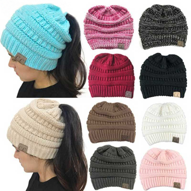 GROUP JUMP Fashion Winter Hat Women Ponytail Beanies Female Knitted  Skullies Beanies Casual Ladies Empty Top Warm Hats 7f784cf7a44