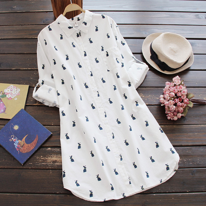 Summer Dress Femme Bunny-printed Long Sleeves Cotton Clothes Casual Long Shirt Dress