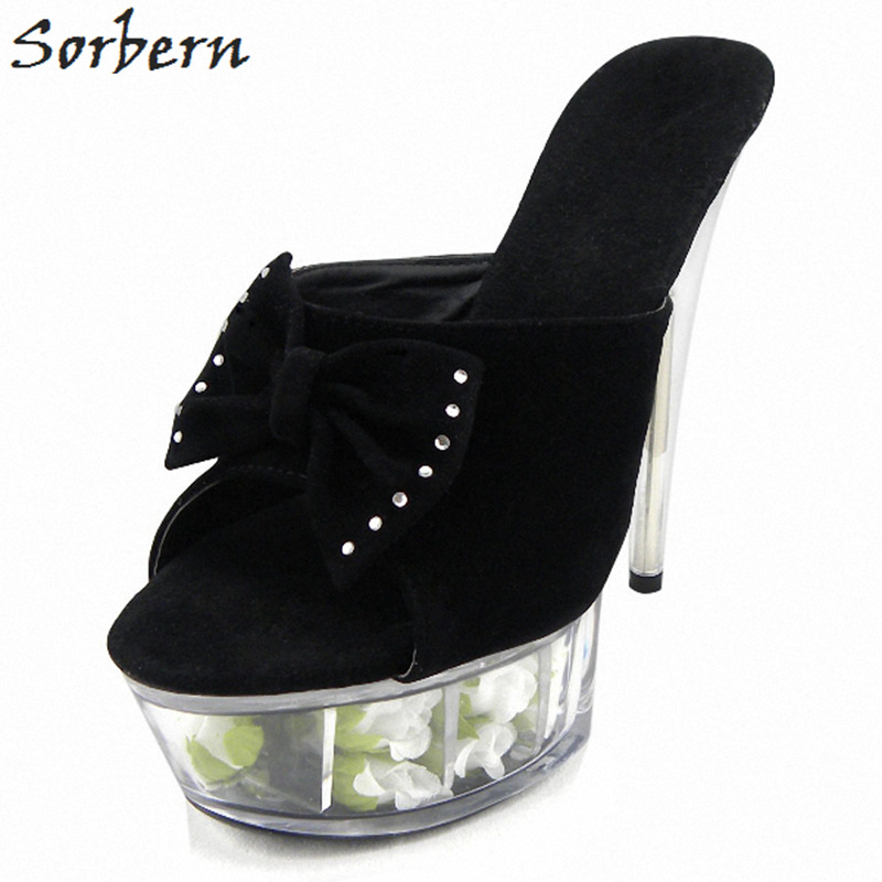 Sorbern Summer Slippers Plus Size Ladies Party Slipper Sexy Peep Toe 15CM Spike Heels Flowers In Shoes Real Image Women S sorbern women summer sandals shoes plus size 15cm transparent spike heels fashion ladies party shoes new arrive sandalia s