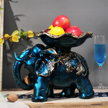 Blue Series Creative Elegant Hand Painted Elephant Fruit Plate Dish Furniture Made of Solid Resin Elegant Manual Home Decoration