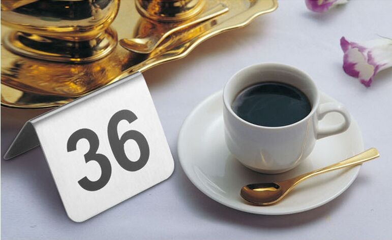 50pcs Double Sides stainless steel table sign card Number Card Wedding Restaurant Cafe Bar Place desk