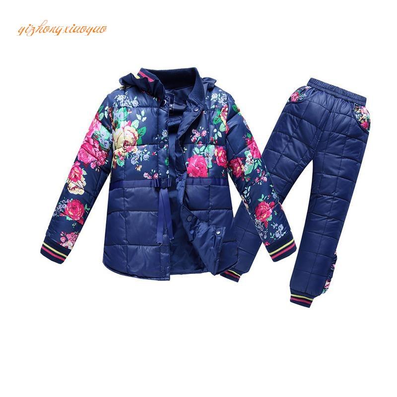 2016 new Russian winter ! baby boy winter children girls white duck down coats overalls clothing set jacket, children's clothing