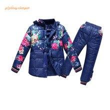2016 nouveau Russe d'hiver! bébé garçon hiver enfants filles blanc duvet de canard manteaux salopette vêtements ensemble veste, enfants de vêtements
