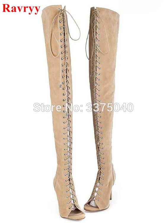Hot Selling Gladiator Over The Knee Boots Summer Sandals Suede Boots Lace Up Peep Toe Back Zip Beige Cut Out Strappy Women Shoes cut out ring detail zip leggings