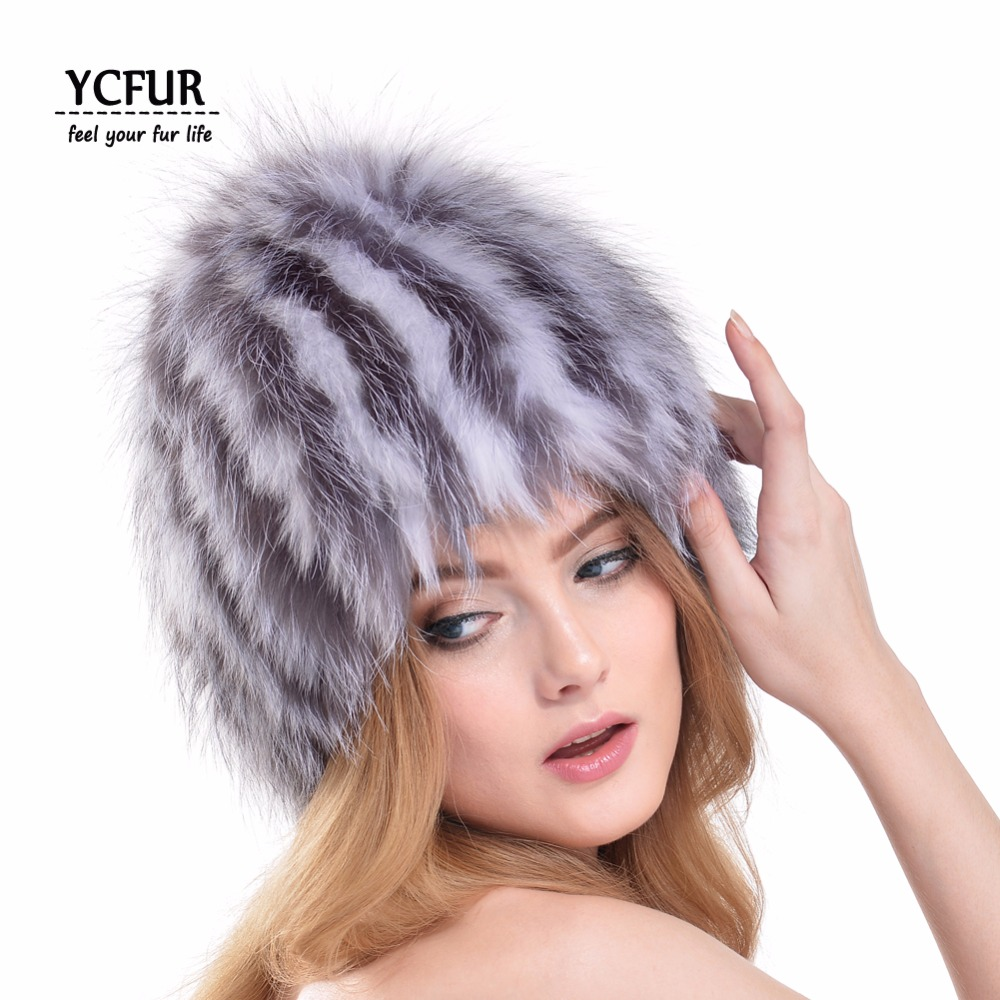 ФОТО New Arrival Fashion Women Beanies Hats Winter Handmade Knit Fox Fur Caps Warm Winter Real Fox Fur Hat Female YH165