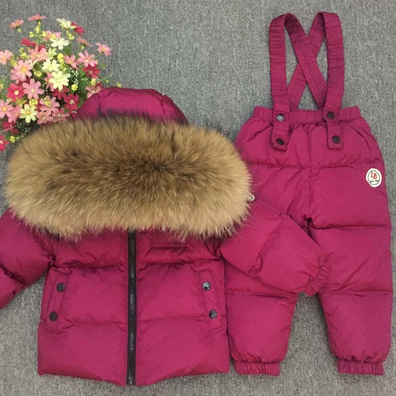 b4ca4f4f8 Russian Winter Real Fur Warm Children Clothing Sets Girls Down Coat ...