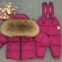 Russian Winter Real Fur Warm Children Clothing Sets Girls Down Coat Kids Boys Jacket Children's Snowsuit Kids Outdoor Ski Suit