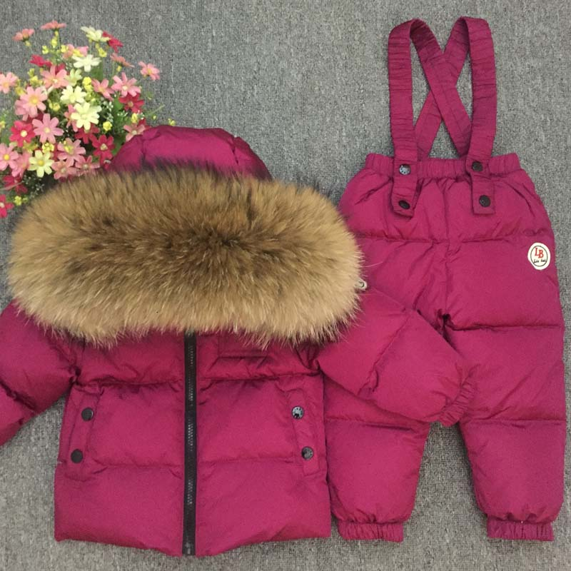 Russian Winter Real Fur Warm Children Clothing Sets Girls Down Coat Kids Boys Jacket Children's Snowsuit Kids Outdoor Ski Suit