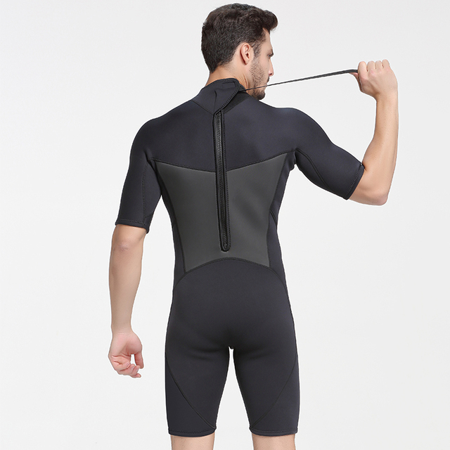 SBART 2MM Neoprene Wetsuit Men Keep Warm Swimming Scuba Diving Bathing Suit Short Sleeve Triathlon Wetsuit for Surf Snorkeling