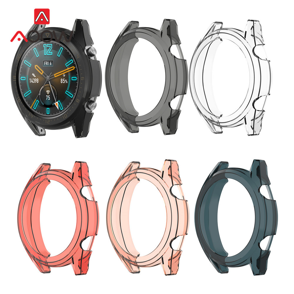 Soft TPU Protective Case For Huawei Watch GT Active / Elegant Smart Watch Transparent Anti-fall Protector Cover Shell Frame