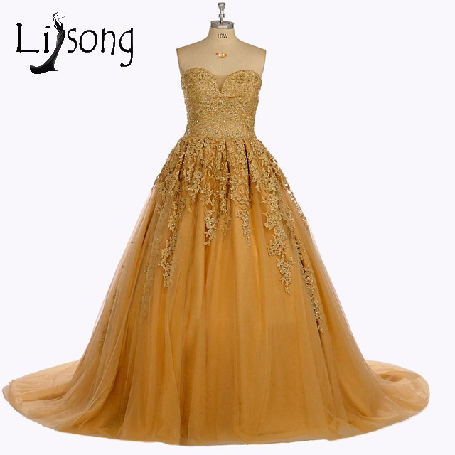 2017 Real Image Vintage Gold Long Prom Gowns Dubai Liques Crystal Puffy Dress For Graduation Vestido Formatura A016 In Dresses From Weddings