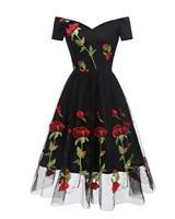 Women Floral Embroidered Mesh Dress Off the Shoulder Short Sleeves Summer Dress 2018 Vintage A Line Tea Cocktail Party Dress
