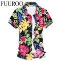 Hombres camisa de verano playa Floral camisa de mangas cortas para hombre marca delgado moda Fit camisas casuales CBJ-J6507