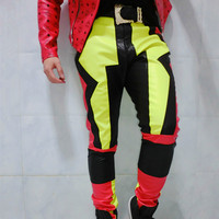 Color Mens Leather Pants Singer Dacner Bar Male Trousers A Concert In Conjunction With The Locomotive