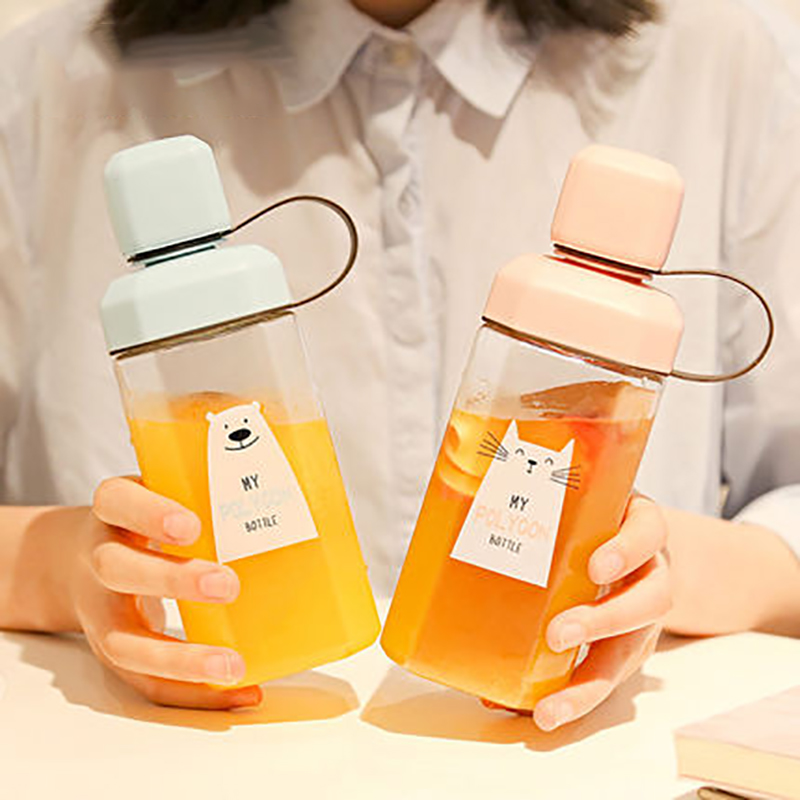 Tea water cute cartoon Travel juice beverage bottle portable food grade PC 420ml 400ml