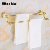 Luxury golden double Towel Bar with jade 60cm Towel Holder Bathroom shelf ,Bathroom Accessories bathroom towel bar