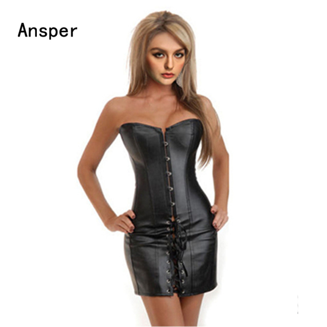 4943f25d4dc77 US $22.39 |lingere negligee S 2XL Sexy Lingerie Women Black Faux Leather  and Lace Burlesque mini Corset Dress Gothic Bustier-in Bustiers & Corsets  ...