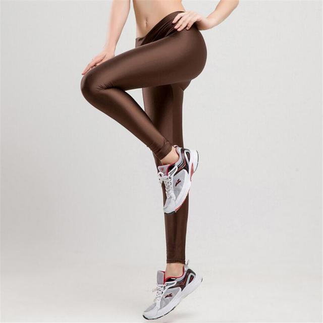 2017 V High Waist Candy Colors Neon Sportswear Workout Leggings Women Pants Fashion Jegging Elastic Strtched Shiny K086