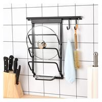 Kitchen 3 Layers Aluminum Alloy Storage Rack Tableware Hanger Cooking Tools Organizer Pot Cover Holder 2 Wall Hooks