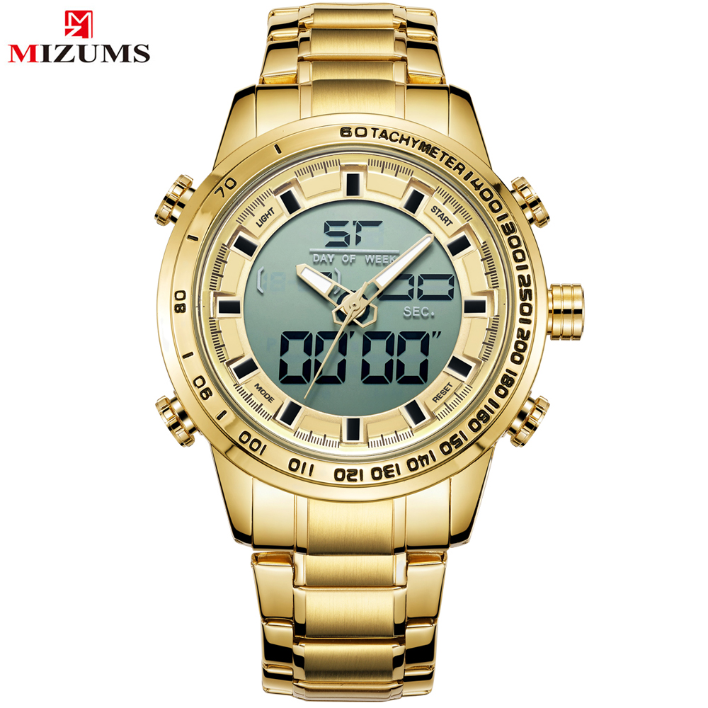 Men Sports Watches Mens Full Steel Quartz Digital Clock Man Waterproof Wrist Watch