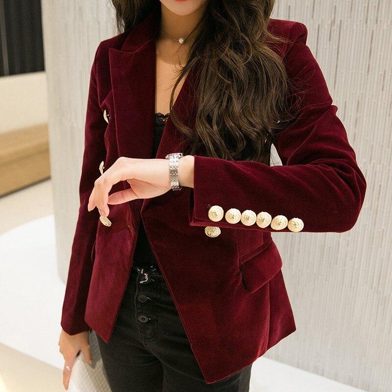 New Spring Fashion Women Midnight Navy Slim Velvet Blazer Jacket Double Breasted Simple Sexy Lady Blazers High Grade OL Clothing
