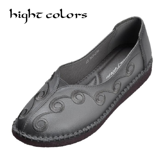 980bdf6bf46 2018 Fashion Casual Shoes Genuine Leather Women Shoes Flats Comfortable  Handmade Woman Loafers Flower Women s Flat Shoes