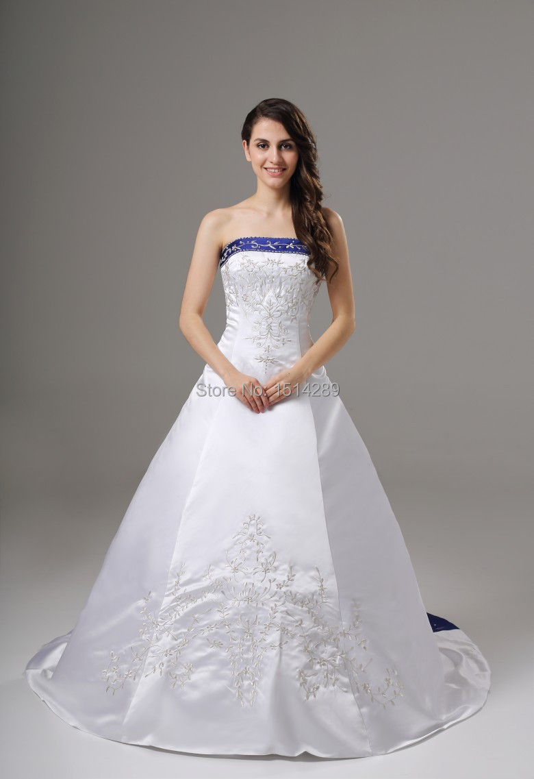 Free Shipping European High End Wedding Dress New Navy Blue White Satin Hand Beaded Embroidery Trailing In Dresses From Weddings