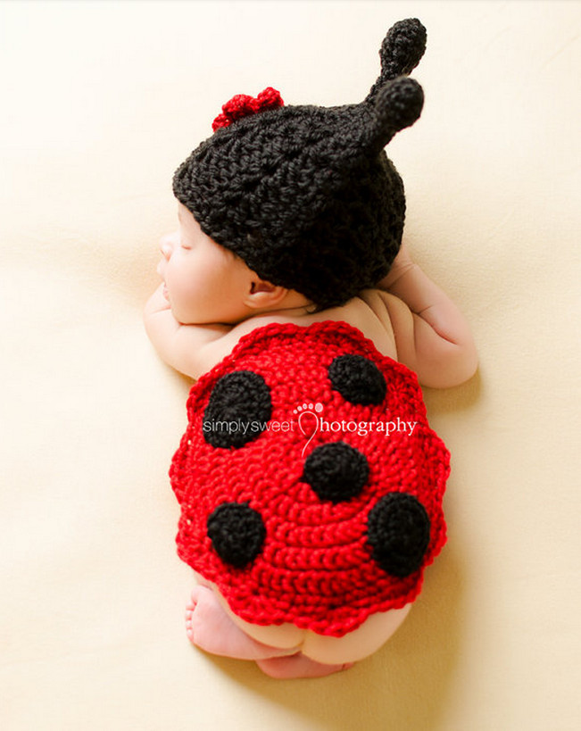 Cute Baby Photo Clothing Toddler Kids Infant Ladybug Costume Newborn Photography Props Knit Crochet Animal Dresses Sale - shuang wang's store