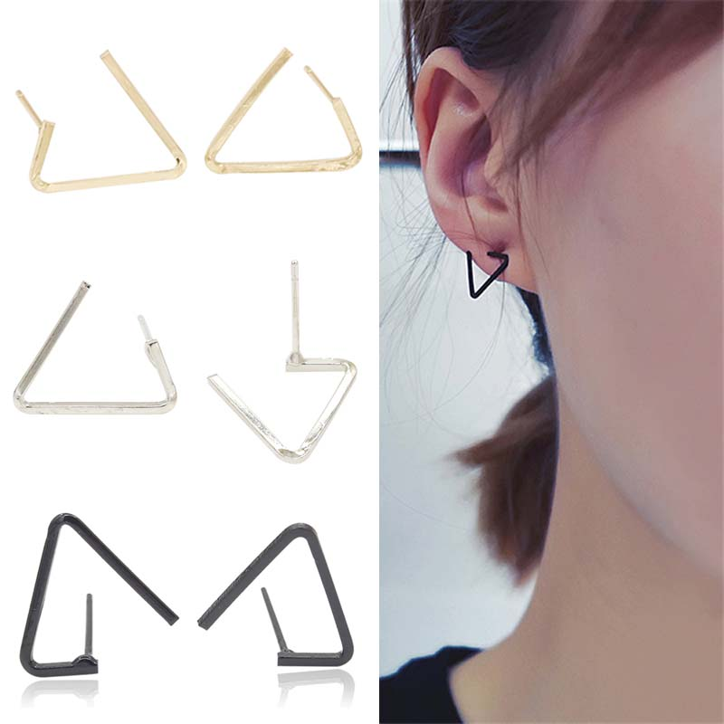 Hot 1 Pair Women Girl New Triangular Design Geometric Wholesale Opening Earrings Jewelry