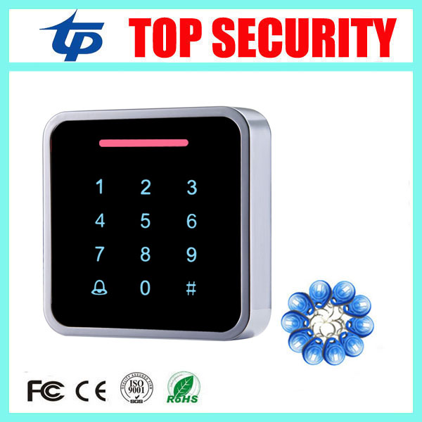 Smart card door access control system single door RFID card access control reader touch keypad metal access control system + Key smart card reader door access control system 125khz smart rfid card proximity card door access control reader 10pcs rfid keys