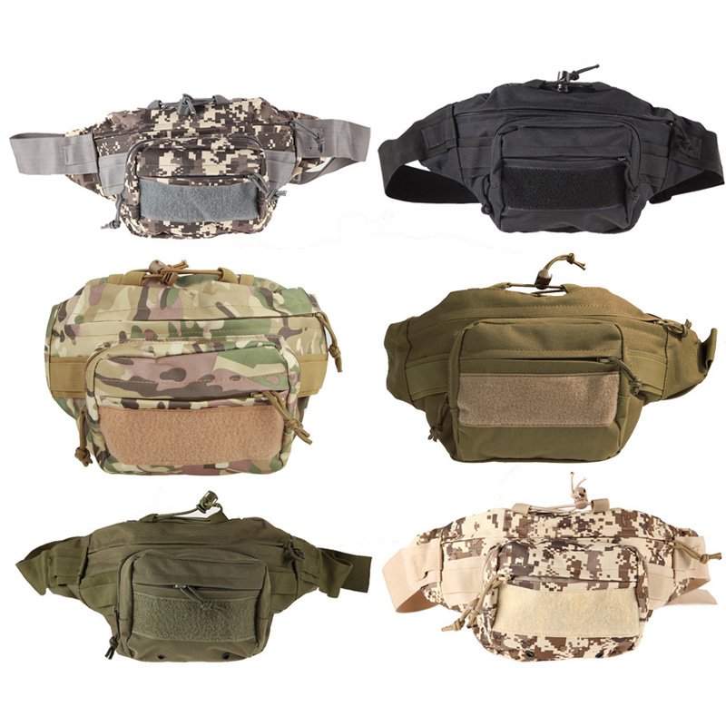 Outdoor Military Tactical Waist Pack Utility Canvas Waist Packs Belt Bags Pouch Shoulder Bag Molle Camping Hiking Climbing Bags drawstring waist sleeveless utility jumpsuit