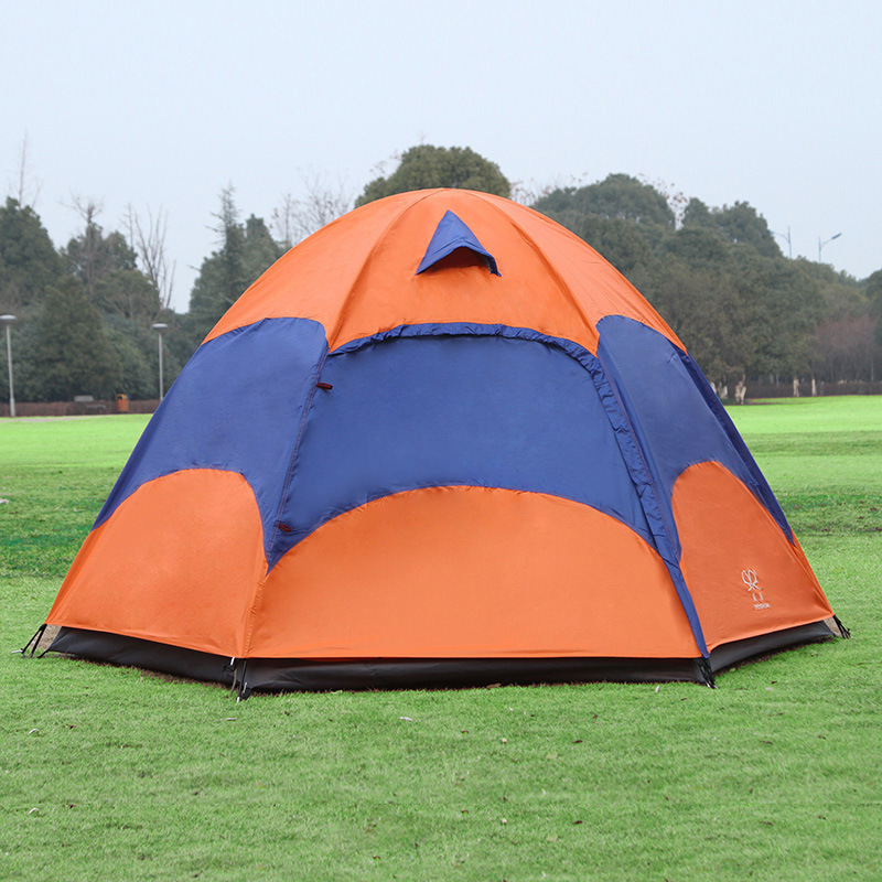 5-8 People Large Outdoor Camping Tent For Hiking Travel Adventure Outing Gazebo Double Layer Ultralight Portable Orange Tente hewolf 2persons 4seasons double layer anti big rain wind outdoor mountains camping tent couple hiking tent in good quality