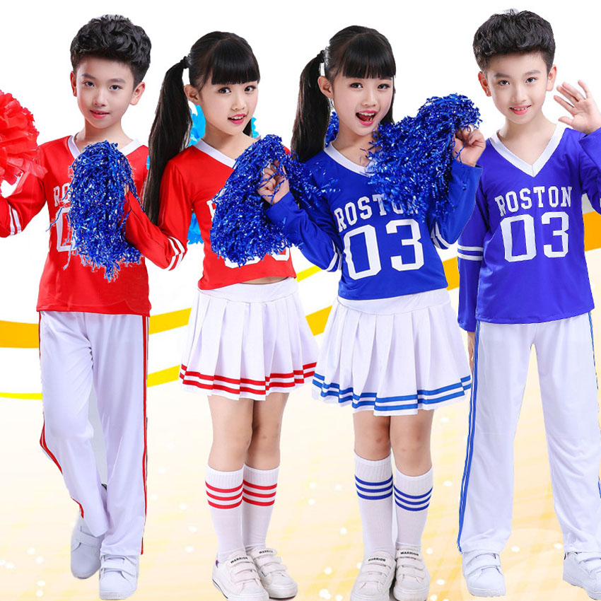 Ballroom Dance Costumes Children Girls Clothing Set School Uniform Tops+skirt Letter Print Cheerleader Performance Stage Wear