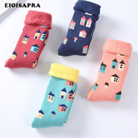 [EIOISAPRA]4 Pairs House Pattern Jacquard Funny Socks Women Japan Harajuku Reto Antiskid Meias Thick Colorful Calcetines Mujer