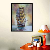 European Sailing Ship Boat And Birds Oil Handpainted Print On Canvas For Office Decoration 1 Panels